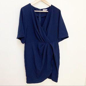 ASOS twist front navy blue mini dress size 12
